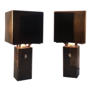 Bronze and Steel Graf Spee Table Lamps - A Pair
