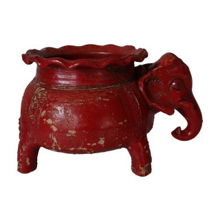 1970s Red Pottery Elephant Planter