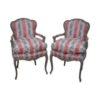 Paint Frame French Louis XV Style Fauteuils Arm Chairs - A Pair