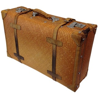 Vintage Woven Bamboo Suitcase