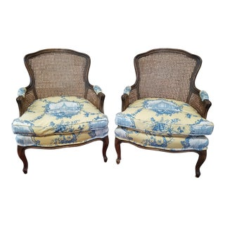 French Country Bergere Chairs - A Pair
