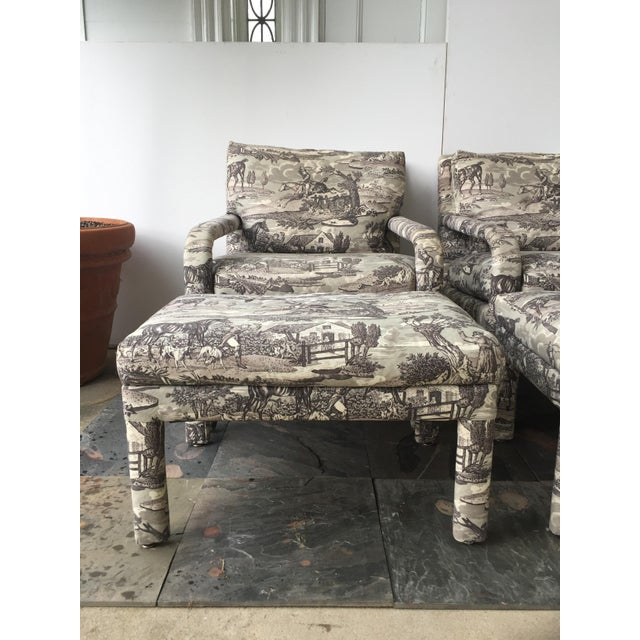 Vintage Toile Upholstered Chairs & Ottomans - A Pair - Image 4 of 6