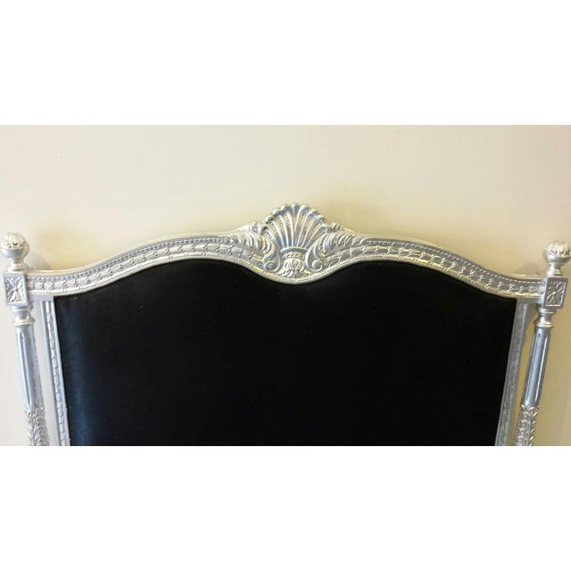 Image of Hand Carved Bed w/Black Velvet Headboard - Queen