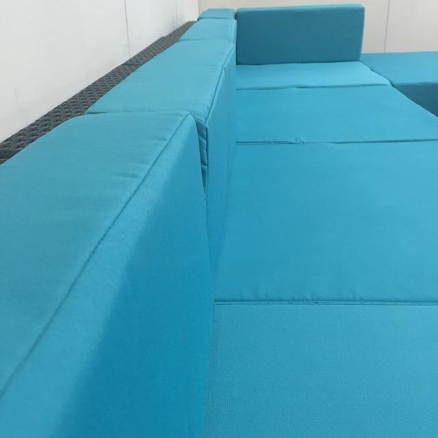 Turquoise Wicker Patio Set - Image 6 of 9