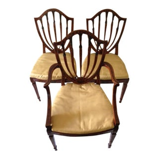 George III Style Paint Decorated Satinwood Chairs - Set of 3