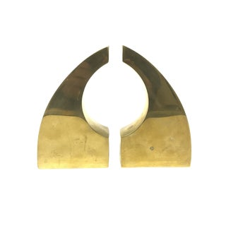 Modernist Brass Bookends - A Pair