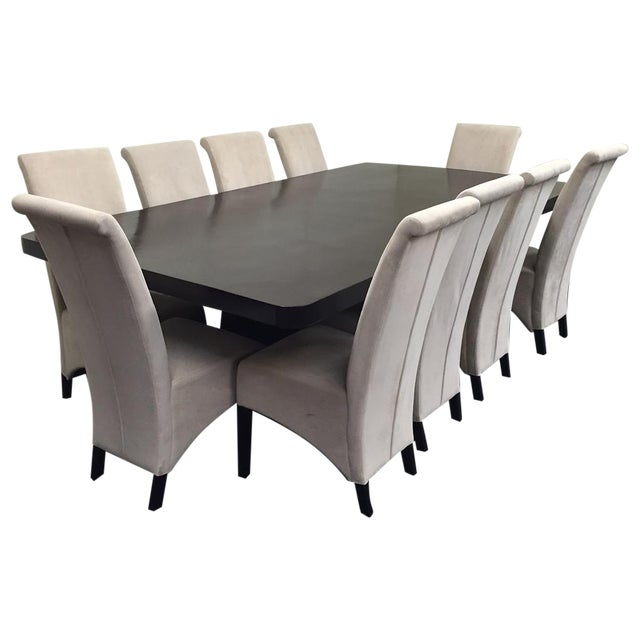 Image of Dark Brown Wooden Dining Set