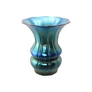 Authentic 1930's Steuben Blue Aurene Ribbed Vase