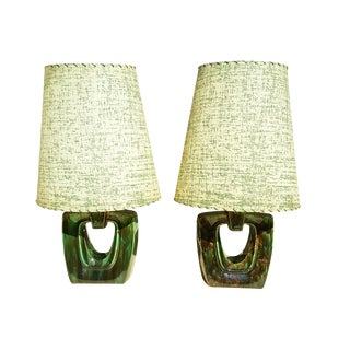 Mid-Century Modern Green Ceramic Lamps - A Pair