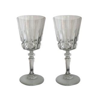 Vintage Crystal Mid-Century Modern Wine Glasses - A Pair