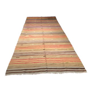 "Vintage Turkish Striped Kilim Rug - 5'4"" x 12'8"""