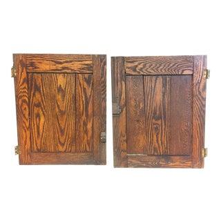 Vintage Rustic Wood Cabinet Doors - A Pair