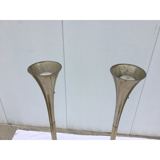 Laurel Brass Torchiere Floor Lamps - A Pair - Image 9 of 10
