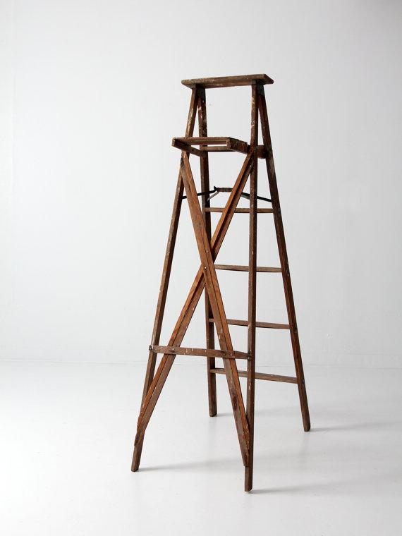 1950s Vintage Wood Painter s Ladder