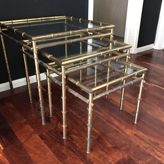 Vintage Faux Bamboo Brass Nesting Tables - Set of 3 - Image 5 of 9