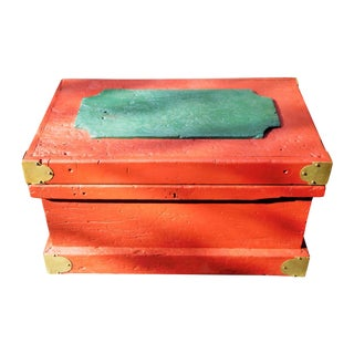 Red Handmade Vintage Tool Wooden Chest