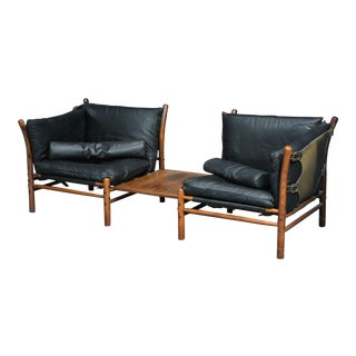 Arne Norell Model Ilona Love Seat with Detachable Rosewood Table for Aneby