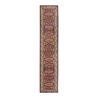 "Kazak Garish Kraig Red Ivory Wool Rug - 2'7"" x 12'7"""