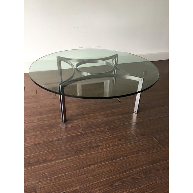 large glass top coffee table with chrome base chairish. Black Bedroom Furniture Sets. Home Design Ideas
