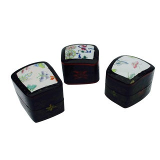 Porcelain Lacquer Glam Trinket Boxes - Set of 3