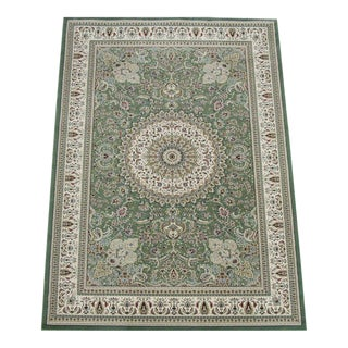 Traditional Medallion Green Rug - 6'7''x 9'7''