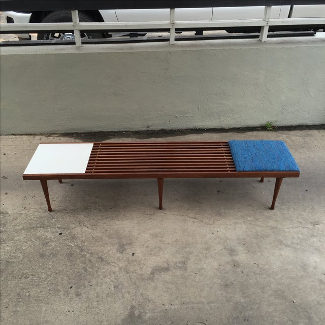 Mid-Century Modern Slat Bench/Coffee Table