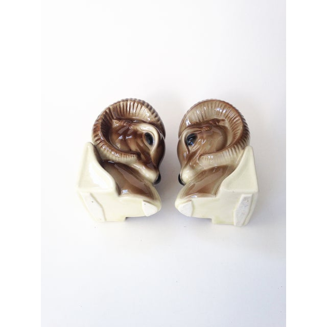 Image of Vintage Ceramic Ram Bookend Planters - A Pair