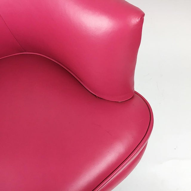 Pair of Vintage Pink Leather Club Chairs - Image 9 of 11