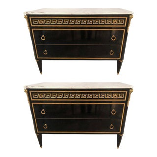 Hollywood Regency Ebony Bronze Greek Key Design Commodes Manner Jansen - a Pair