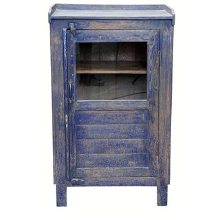 Distressed Navy Blue-Painted Cabinet
