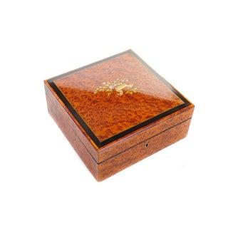 Antique Inlaid Burl Walnut Jewelry Box