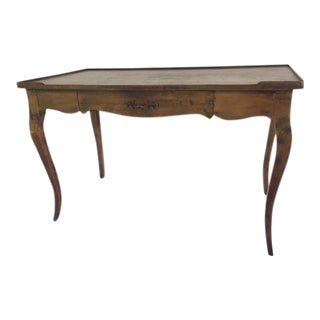 Louis XV Provincial Style Stained Wood Single Drawer Bureau Plat