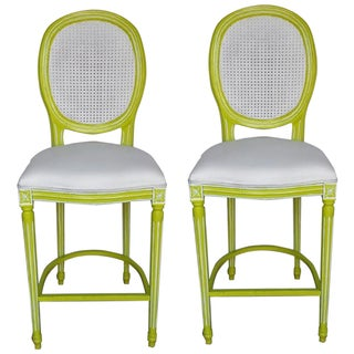 French Louis XV Lime & White Bar Stools - A Pair