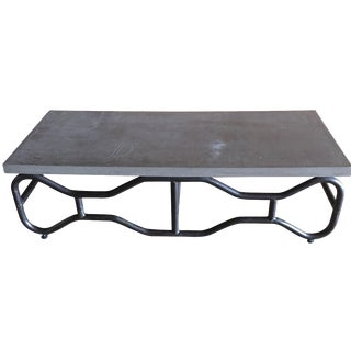 Industrial Modern Concrete and Metal Coffee Table