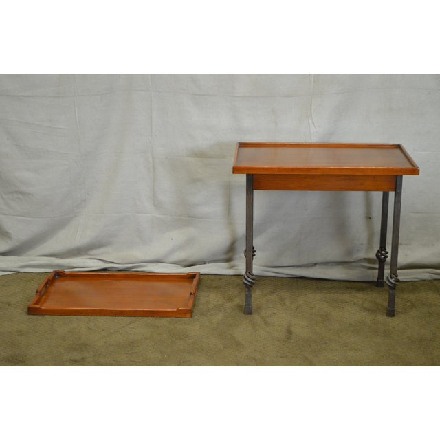 Custom Pair of Iron Base Tray Top Side Tables - Image 3 of 11