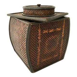 Asian Bamboo Lidded Basket