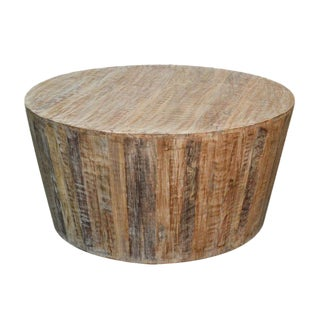 Distressed White Reclaimed Wood Round Coffee Table