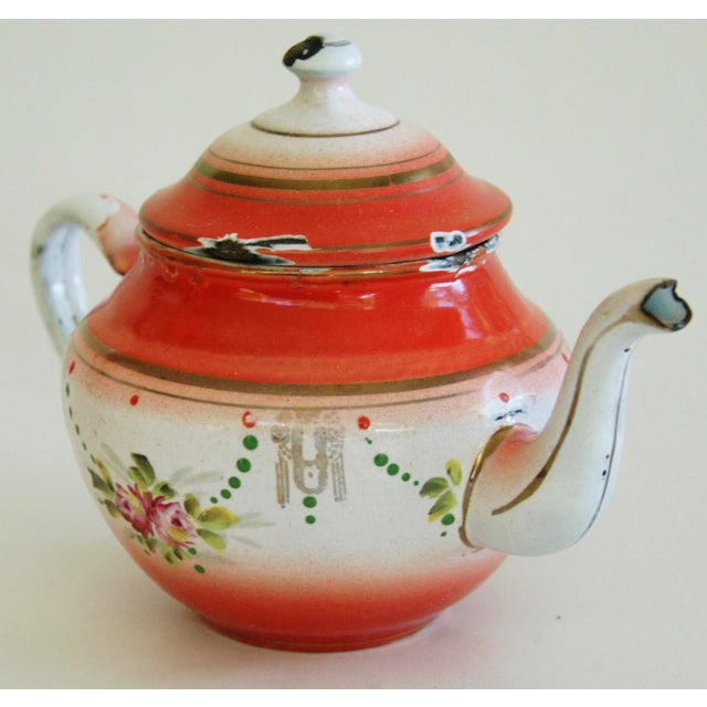 1930s French Enamelware Hand-Painted Teapot - Image 4 of 7