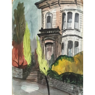 Mid-Century San Francisco Victorian Watercolor