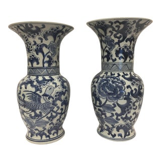 Tozai Blue & White Flared Vases - A Pair