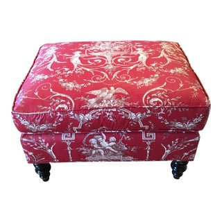 Dessin Fournir Upholstered Ottoman - Red Toille by Rose Cummings