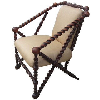 Barley Twist Frame Chair with Linen Upholstery