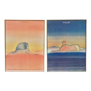 Jean-Michel Folon Exhibition Posters - A Pair