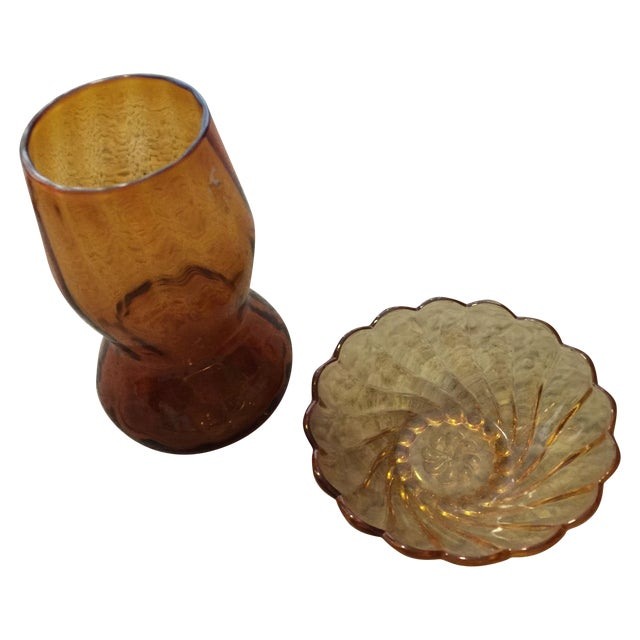 Amber Vase & Candy Dish - Image 1 of 7