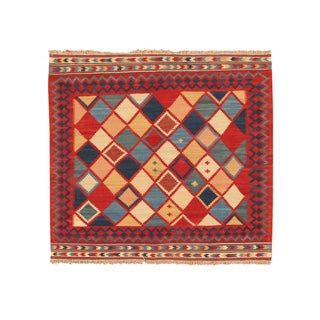 Apadana - Red & Blue Diamonds 5 x 5 Vintage Kilim