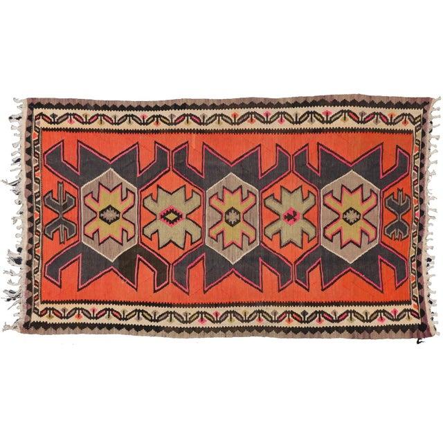 "Vintage Persian Shiraz Tribal Kilim Rug With Boho Chic Style - 5' 2"" X 8' 7"" - Image 1 of 5"