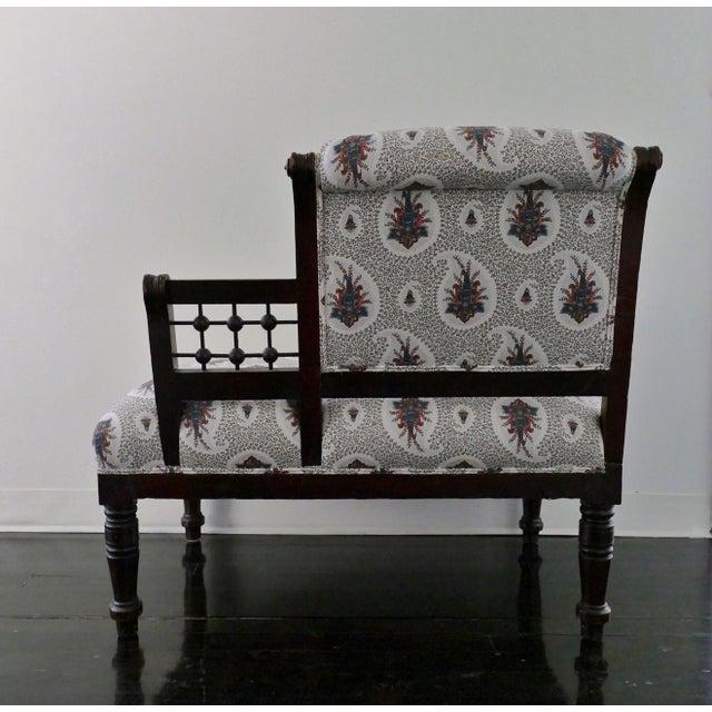 Vintage Eastlake Style Settee Upholstered in Tilton Fenwick Fabric - Image 4 of 8