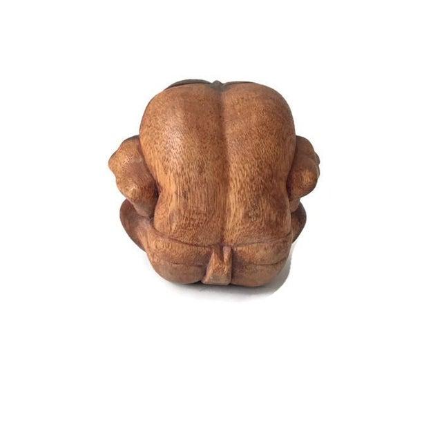 Vintage Carved Wood Meditation Monk Statue Display - Image 6 of 7