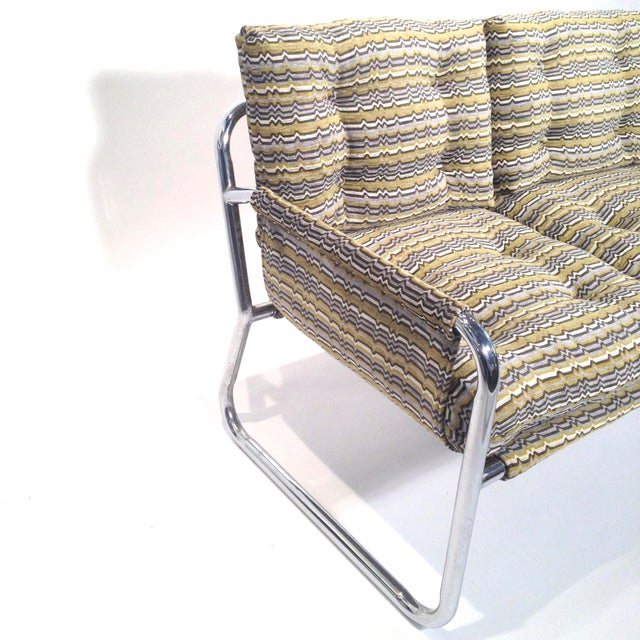 Zermatt Tubular Chrome Sling-Back Settee - Image 3 of 6