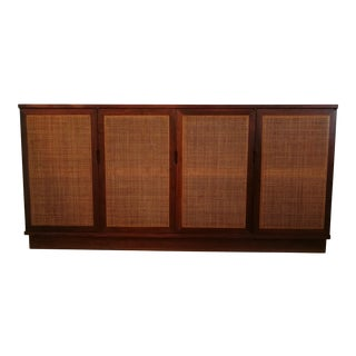 Mid-Century Walnut & Cane Credenza / Tv Stand - Hides All the Tv Cable and Boxes!!!